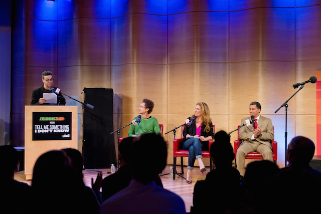 """Tell Me Something I Don't Know"" host Stephen Dubner with, from left, judges Malcolm Gladwell, Ana Gasteyer, and former New York governor David Paterson. (Photo: Janice Yi)"