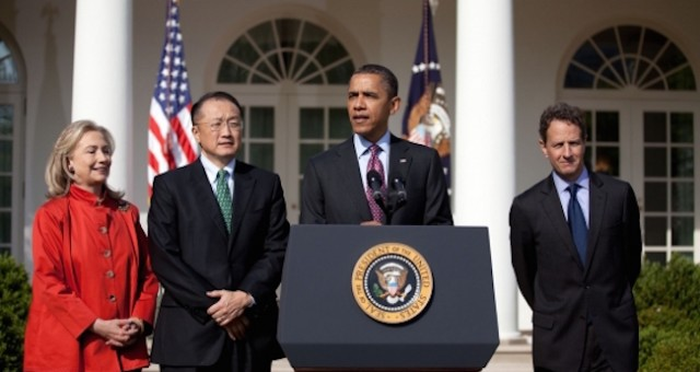 Dr. Kim, second from left, didn't have a typical background for a World Bank president. (OfficialWhite House photo: Sonya N. Herbert)