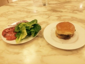Stephen Dubner's home-cooked burger. O'Mara declares it #2 in NYC (methods unscientific, conclusion accurate).