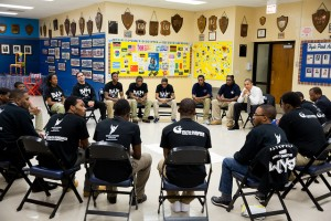President Obama meets with participants in the Becoming a Man project in 2013. (Official White House photo by Pete Souza)
