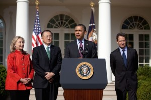 Dr. Kim, second from left, didn't have a typical background for a World Bank president. (Official White House photo: Sonya N. Herbert)