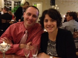 Jason and Kristen Sarata at the charity event where they won a diamond valued at $7,500.