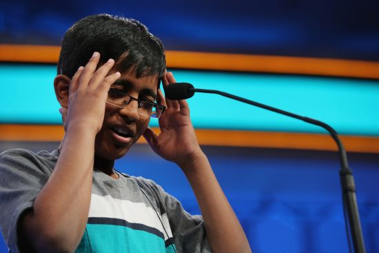 Srinath Mahankali correctly spelling his word during the 88th Scripps National Spelling Bee (photo: Chip Somodevilla/Getty Images)