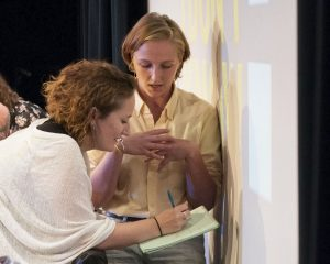 Social-media scholar danah boyd (left) confers with contestant Helen Beilinson during the Wheel of Maximum Danger round. (Photo: Lucy Sutton)